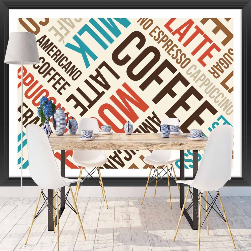 Else Blue Brown Red Milk Latte Coffee Writen 3d Print Photo Cleanable Fabric Mural Home Decor Kitchen Background Wallpaper