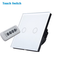 Free Shipping,EU Touch Switch,Remote Switch, White Crystal Glass Switch Panel, Wall Light Touch Screen Switch