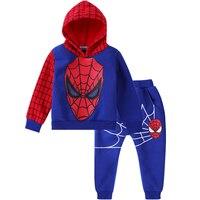 Herfst Jongens Kleding Kids Spiderman Cartoon Hoodie Jassen Kleding Sets Kinderen Amerikaanse Captain Lange Mouwen Trainingspak Jas