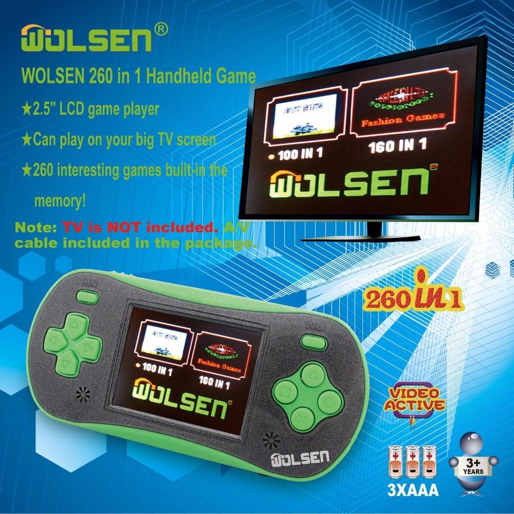 Kualitas tinggi konsol permainan genggam mini genggam warna video game anak hadiah klasik 260 in 1 game (Hijau)