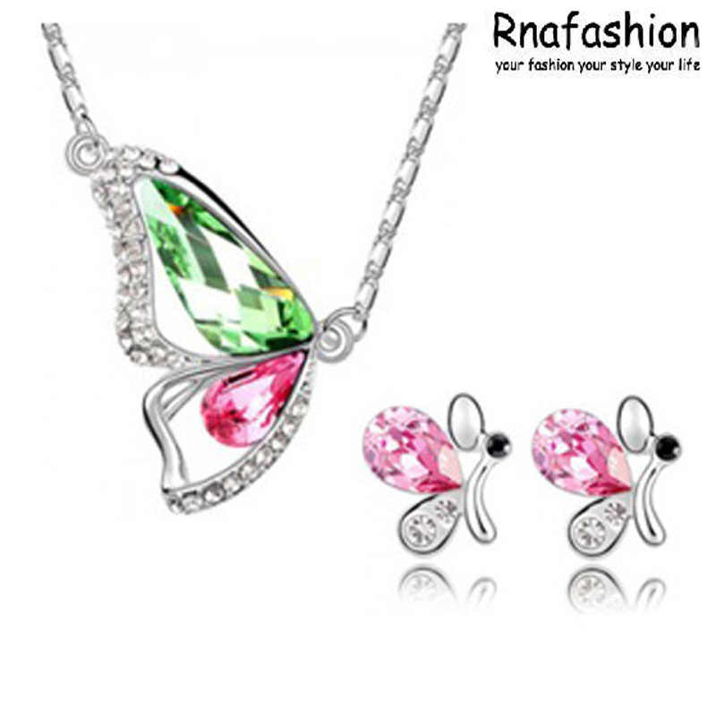 Tidak ada Minimum Order Hot! austria kristal fashion perhiasan Fashion Perhiasan Set anting kalung-kupu-kupu 077