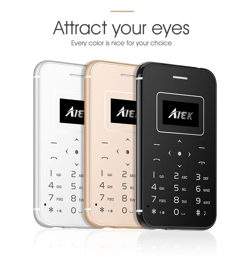 AIEK X8 Ultra Thin Card Mobile Phone Mini Pocket Students Personality Low Radiation