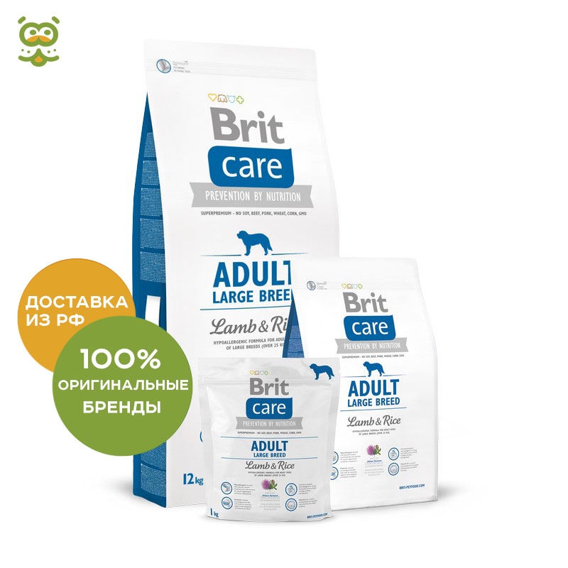 Dog food Brit Care Adult Large Breed Lamb & Rice for adult dogs of large breeds, lamb and rice, 3 kg. все цены