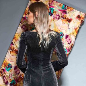 Image 4 - Vestido de noche Dressv de manga larga con escote en v, hasta el suelo plisado, corte sirena, vestido formal de fiesta y trompeta, vestidos de noche