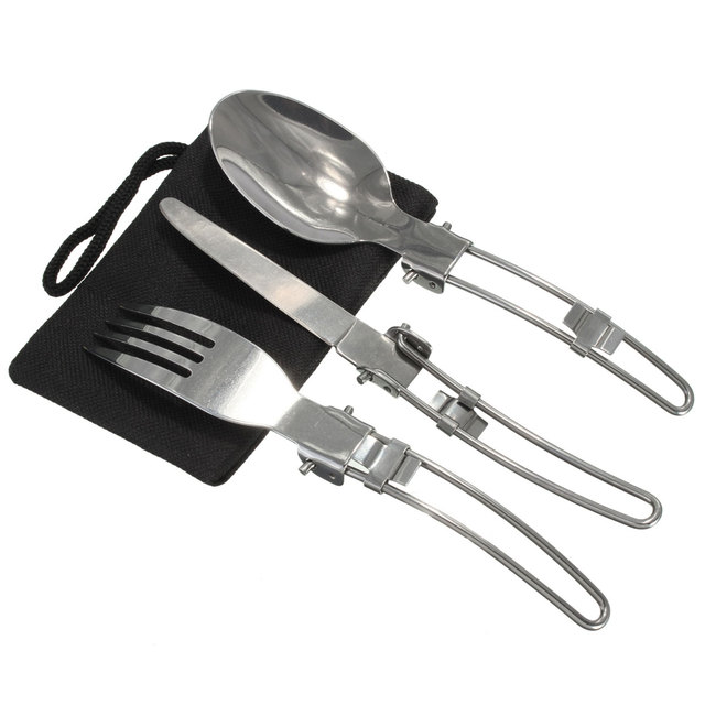 3 pcs /set Portable Outdoor Camping Travel Picnic Tool Foldable Stainless Steel Spoon Fork set Outdoor Tool