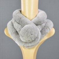 Rabbit Hair Scarf Three Tube Female Scarves Rex Rabbit Fur Genuine Fur Collar Ring Multi Color