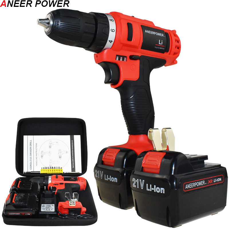 1 5Ah Battery Capacity Drill 21v Electric Screwdriver Mini Cordless Drill Power Tools Electric Drill Batteries