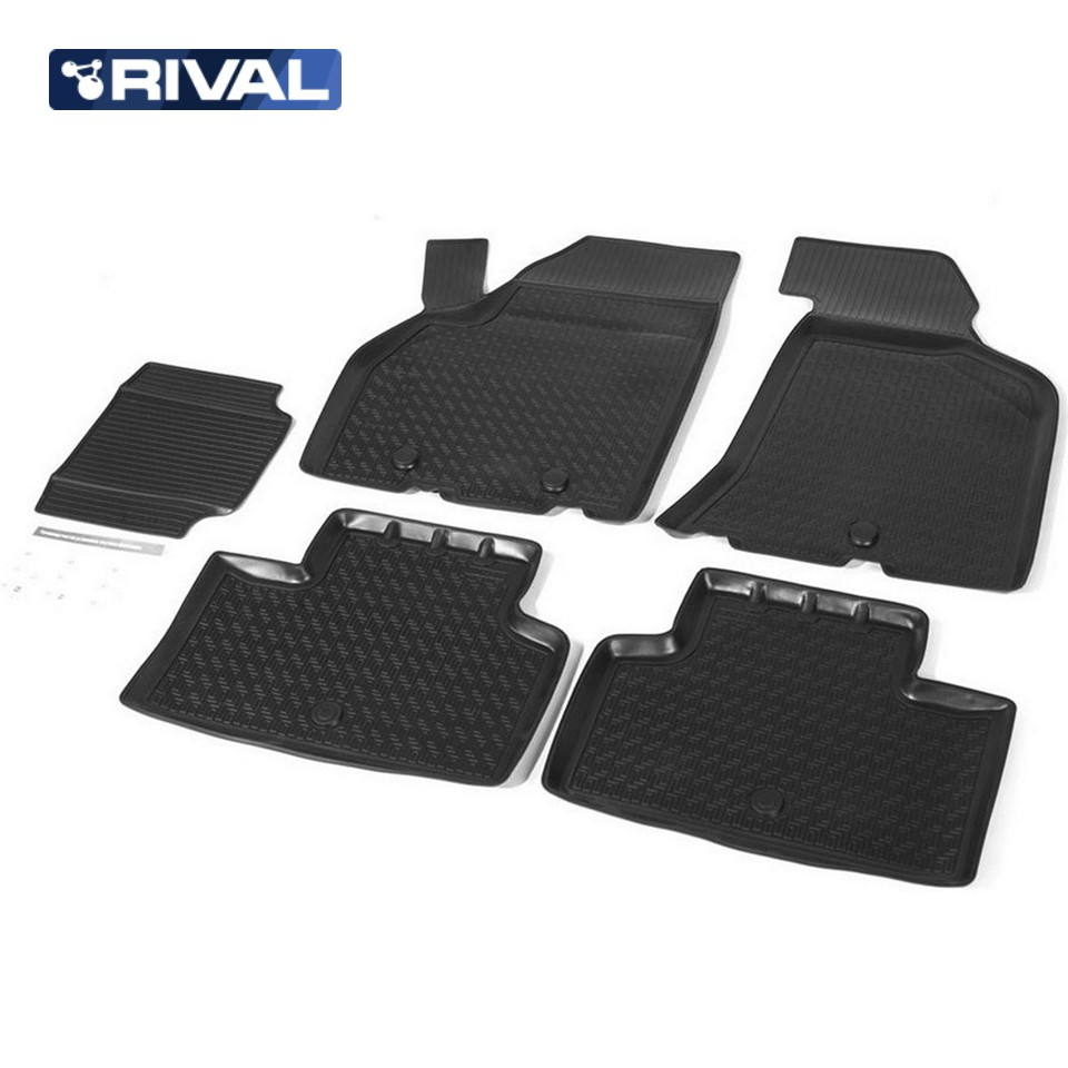 For Lada Priora 2007-2016 floor mats into saloon 5 pcs/set Rival 16004001