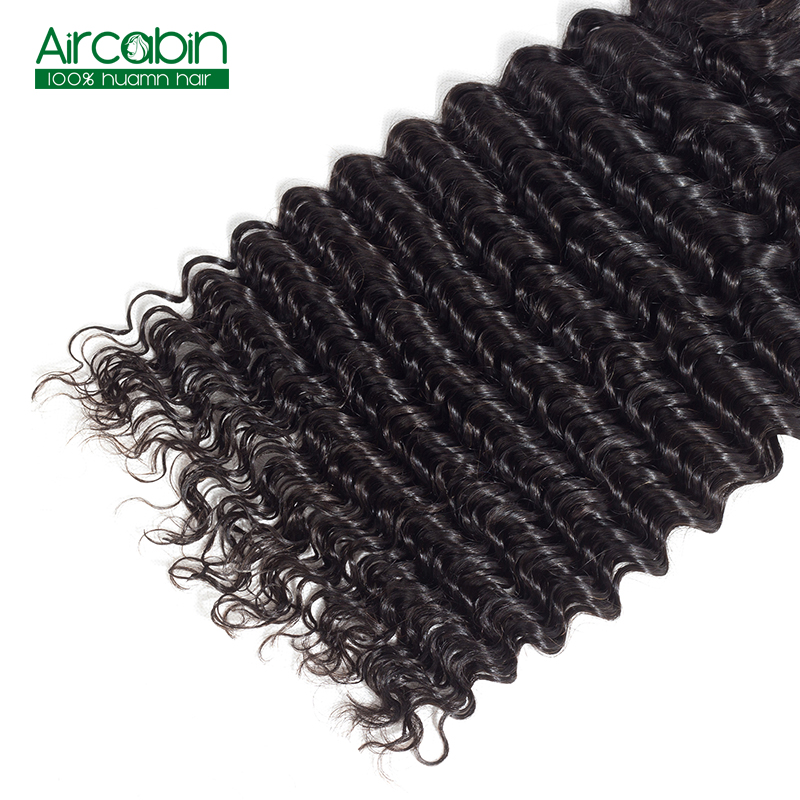 Deep Wave Hair Bundles Peruvian Human Hair 4 Bundles AirCabin Remy Extenions Natural Black Can Be Dyed and Bleached