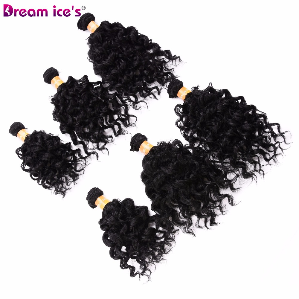 Dream ice 39 s black bouncy curly hair bundles extensions 6 pieces pack one pack for head synthetic hair weave for black women in Synthetic Weave from Hair Extensions amp Wigs