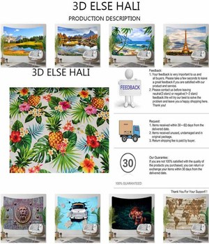 Ļ�熱帯パイナップルグリーンリーフ赤紫色の花 3D Ã�リント装飾 Hippi Ã�ヘミアン壁風景タペストリー壁アート