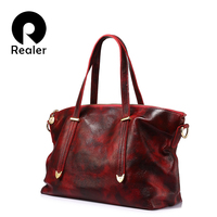 REALER Brand Fashion Women Genuine Leather Shoulder Bags Female Handbag Large Capacity Tote Bag 2017 Red