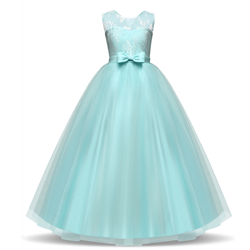 Flower Girl dresses for New Year clothes Party Baby Girls Sleeveless Bow Lace Princess Wedding Dress Children Party Vestidos lcjmmo red spring summer girl lace dress 2018 kids dresses for girls princess party wedding sleeveless baby girl dress clothes