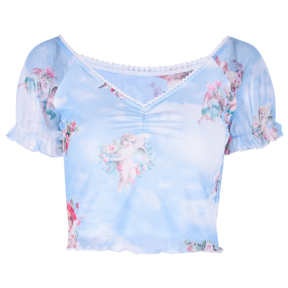 <font><b>Short</b></font> <font><b>Sleeve</b></font> Beach <font><b>Sexy</b></font> Summer <font><b>Crop</b></font> <font><b>Top</b></font> Angel Print Elastic Fashion Mesh Casual Slim Pleated V Neck Women <font><b>T</b></font>-<font><b>shirt</b></font> image