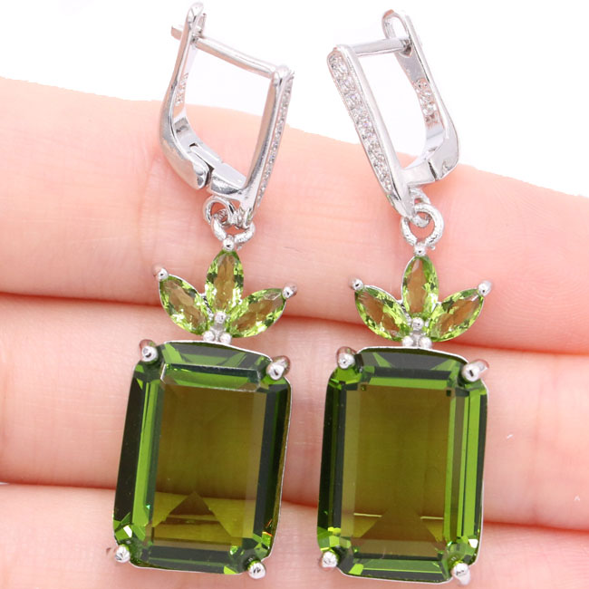 SheCrown Elegant 18x13mm Green Peridot Natural Cubic Zirconia Gift For Sister Silver Earrings 44x13mm