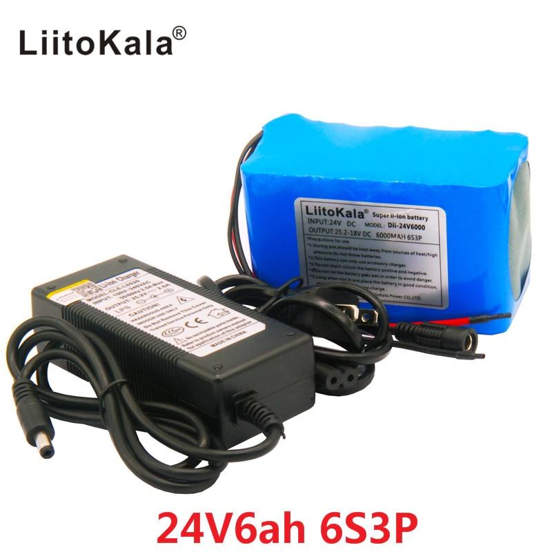 HK LiitoKala 24 V 6Ah 6S3P Battery Pack 25.2 V 18650 Batteria 6000 mAh Batteria Ricaricabile Per Il GPS Navigator/ golf Auto/Bici Elettrica