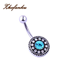 Vintage Flower Belly Button Ring Body Jewelry Women Crystal Navel Piercing Ombligo Sexy Pircing Nombril Nipple Septum Ring