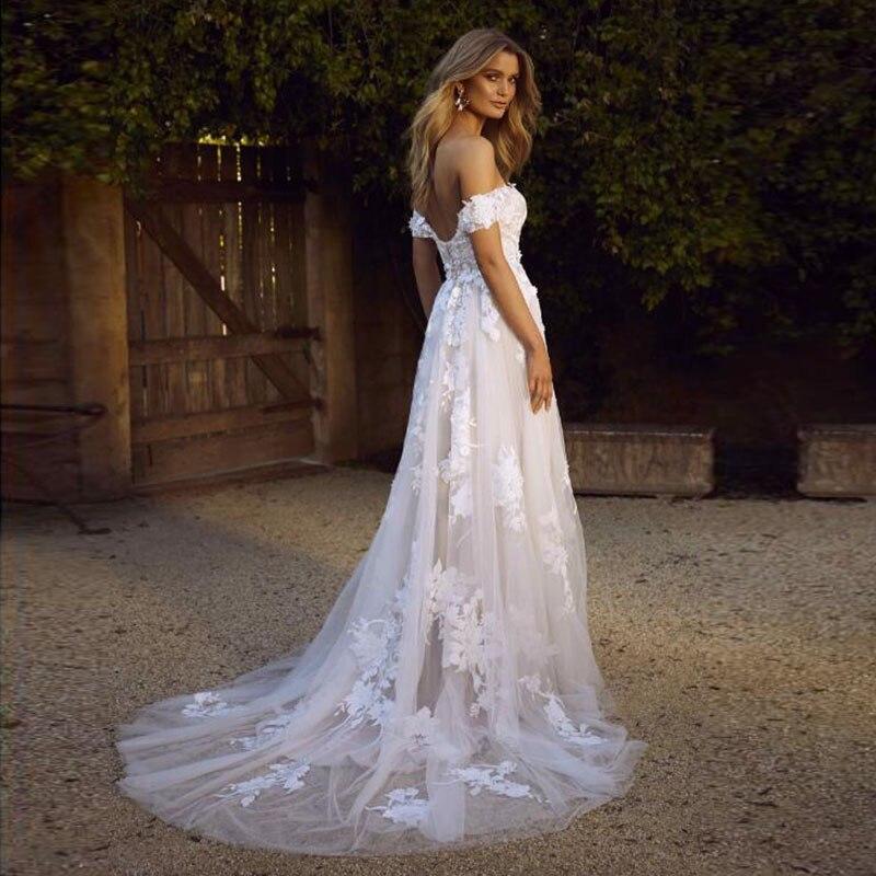 Dentelle plage robes De mariée 2019 hors De l'épaule Appliques une ligne Boho Robe De mariée princesse Robe De mariée Robe De Mariee - 3