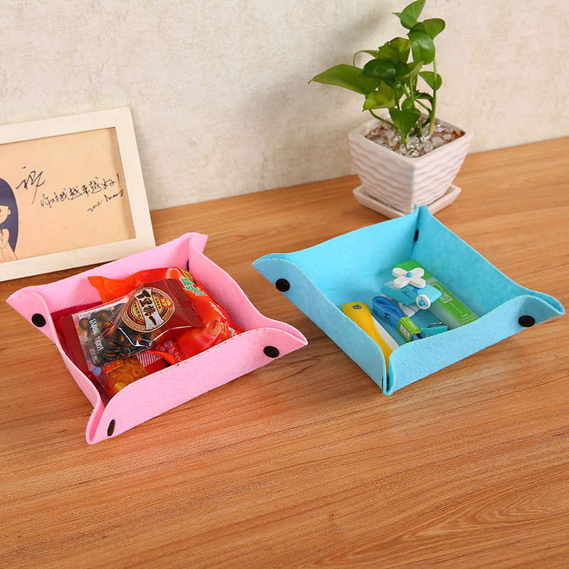 Folding Wool Felts Desk Mini Storage Box Jewelry Container Makeup Organizer Case DIY Assembly Key Organizer Box For Office