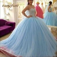 Небесно Голубой Пышное Платье бальное платье сладкий 16 Бисер блесток рукавов Vestidos De 15 Anos дебютантка Пром вечерние платье