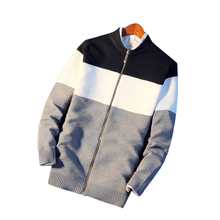 Fashion Men's Zipper Closure Lapel Collar Sweater Casual Slim Fit Knitwear Top