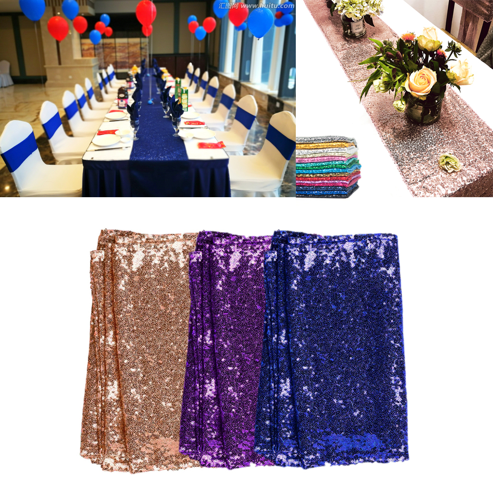 TR - 30x180cm/12x72 Rose Gold/Silver/Gold Sequin Table Runner For Wedding/Party/Christmas/Home Bling chemin de Table Decoration