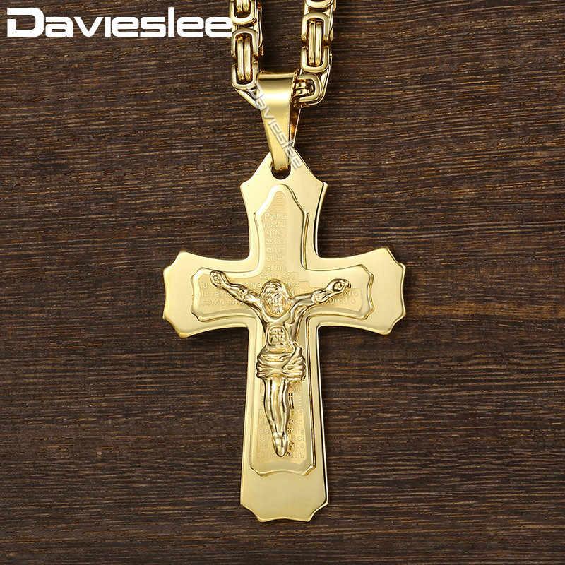 Davieslee 2-warstwa duży wisiorek z ukrzyżowanym Jezusem naszyjnik dla mężczyzn bizantyjski Box Link łańcucha ze stali nierdzewnej złoto srebro DKPM141