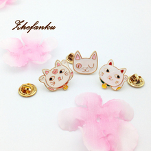Cute Little Brooch Lapel Pin Alloy Oil Head Cat Enamel Brooches For Women Scarf font b