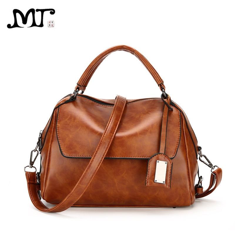 MJ Women Leather Handbags Vintage Female Tote Bag Famous Brand Designer Crossbody Messenger Bags Ladies Hand Bag Shoulder Strap