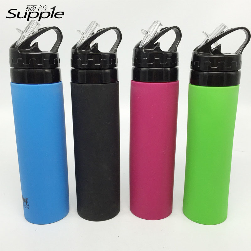 High Quality 700ml Leak Proof Silicone Kettle Portable With a Pull Nozzle Straw Folding Bike Sport Travel Drink Water Bottle