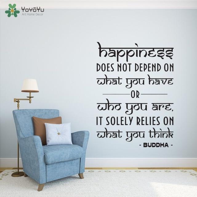 Wall Decal Vinyl Sticker Quotes Happiness Yoga Studio Buddha Art Design Decoration Bedroom Living Room