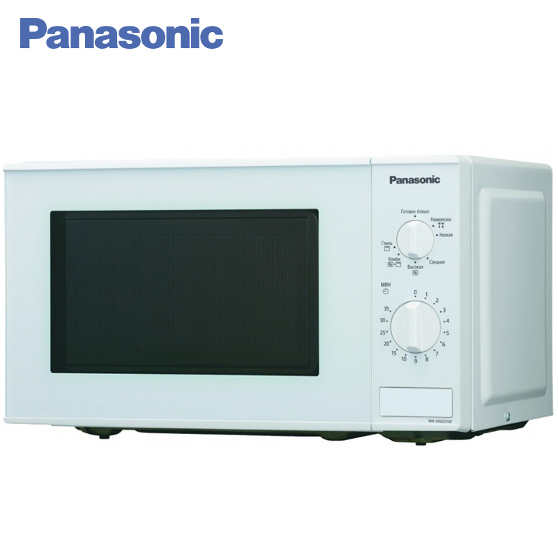 Panasonic NN-GM231WZTE Microwave Oven with grill 1250W 18L 5 power levels Turbo defrosting Internal camera lighting 24 5cm diameter y shape underside media galanz panasonic microwave oven turntable genuine original parts