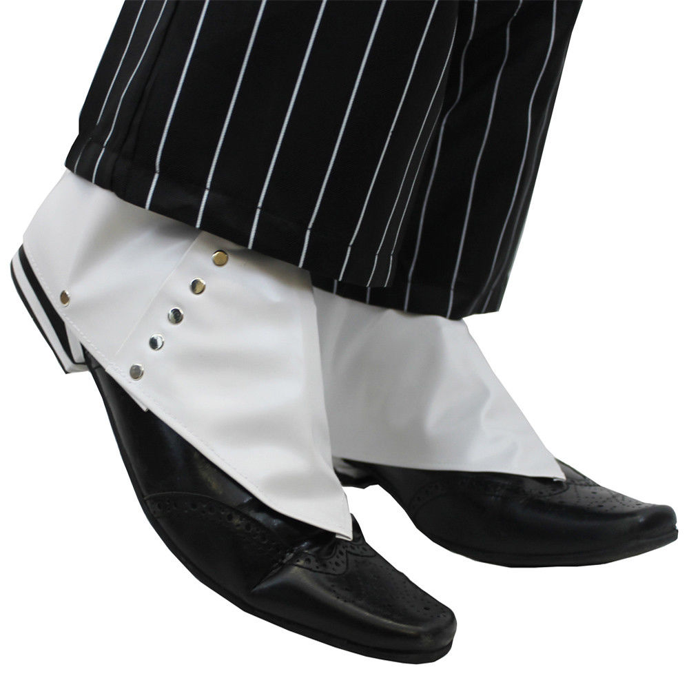 1920's SPATS SHOE COVERS ADULTS MEN'S GANGSTER FANCY DRESS MAFIA PIMP ACCESSORY