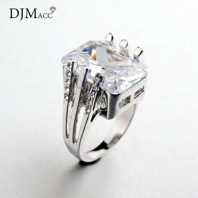 DJMACC AAA Quality Fashion Jewelry Large Size Square Shine Zircon Silver Color W