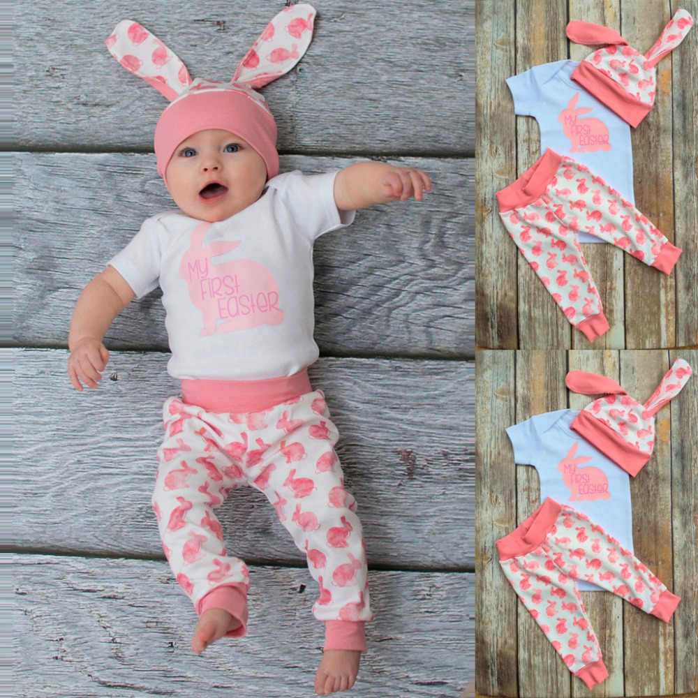95545ce35 ... ISHOWTIENDA 2019 New Arrival Newborn Baby Girl Boy Cartoon First Easter  3D Bunny Outfits Romper Hat ...