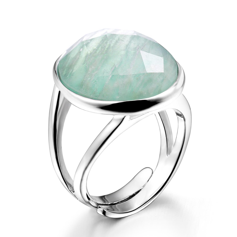 DORMITH réel 925 en argent sterling pierres précieuses anneaux amazonite naturelle anneaux pour femmes bijoux bagues taille peut être réajustable