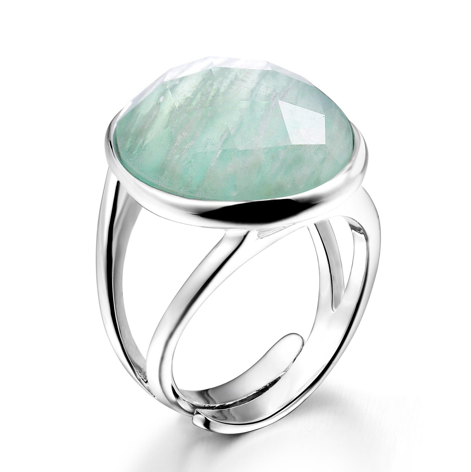 DORMITH real 925 sterling silver gemstone rings natural amazonite rings for women Jewelry rings size can be rejustablering forrings for womenring ring -