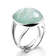 DORMITH real 925 sterling silver gemstone rings natural amazonite rings for women Jewelry rings size can be rejustable
