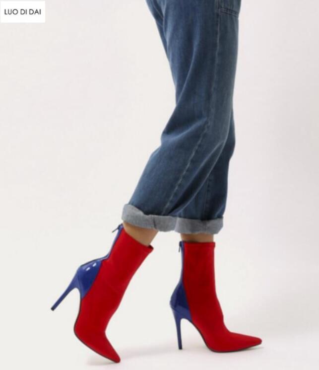 Punto De Cm Mujeres rojo Color Zapatos Vestido azul Cuero Tobillo Tinto 10 Toe púrpura Tacón Moda vino Pista Negro Mezclado Calcetín 2019 Charol Botas Eqdxaa