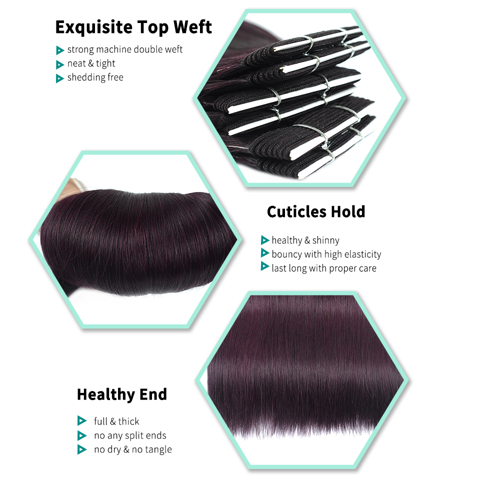 I-Envy Dark Purple Red Brazilian Straight Hair Bundles 4Pcs Deals Dream Grape Colored Human Hair Bundles Non Remy Can Be Restyle