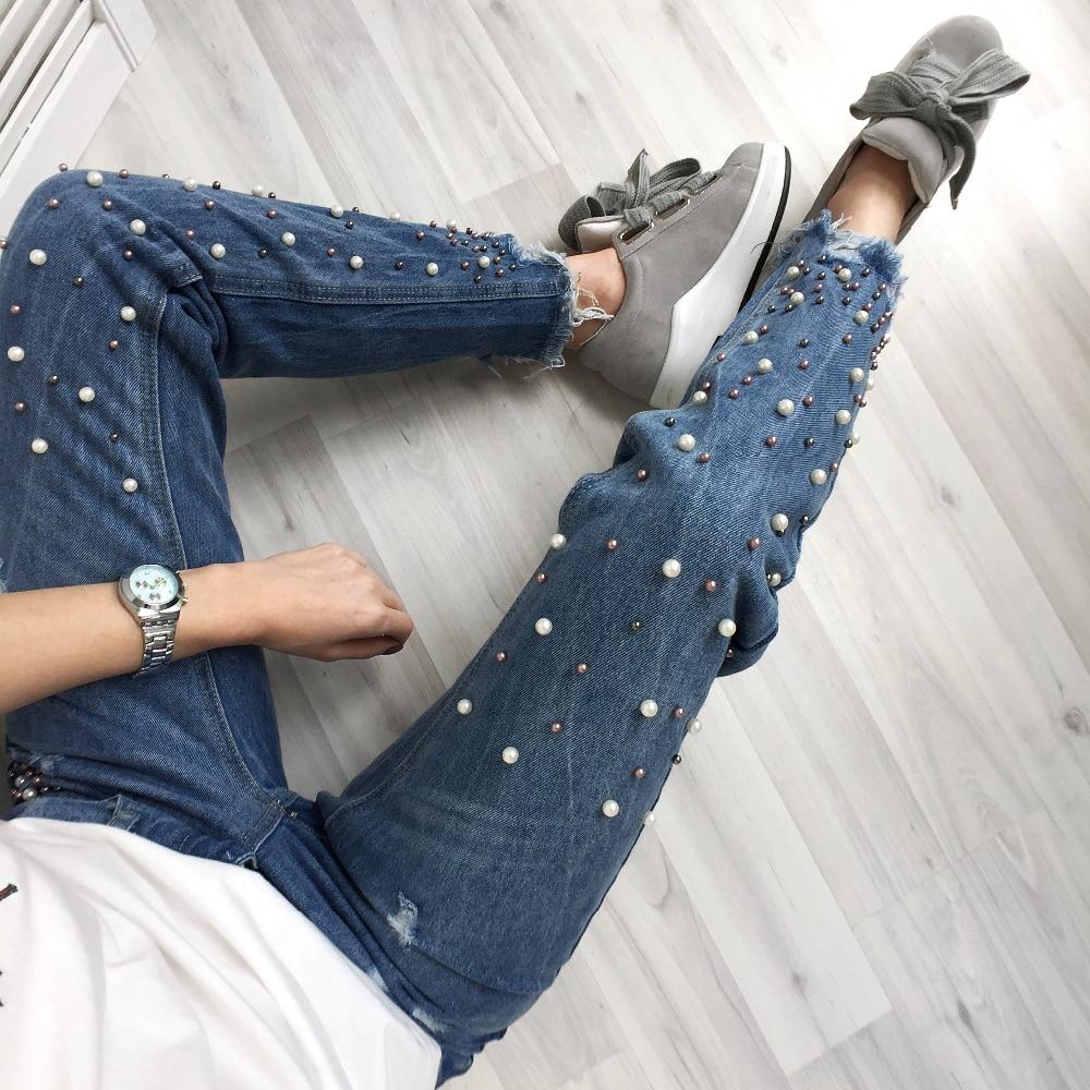 Рваные джинсы, украшенные бусинами с Алиэкспресс