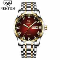 NEKTOM Mens Watches Top Luxury Brand Business Steel Quartz Watch Casual Waterproof Male Wristwatch Relogio Masculino