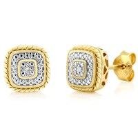 GemStoneKing 18 K Jaune Plaqué Or 925 Sterling Argent Diamant Accent Princesse Cut Boucles boucles d'oreilles Pour Les Femmes