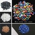 Высокое качество, 8 видов цветов, 2 мм-6 мм, смешанные размеры, 1000 шт./партия, керамические шарики, полукруглые, с плоской задней поверхностью, ж...