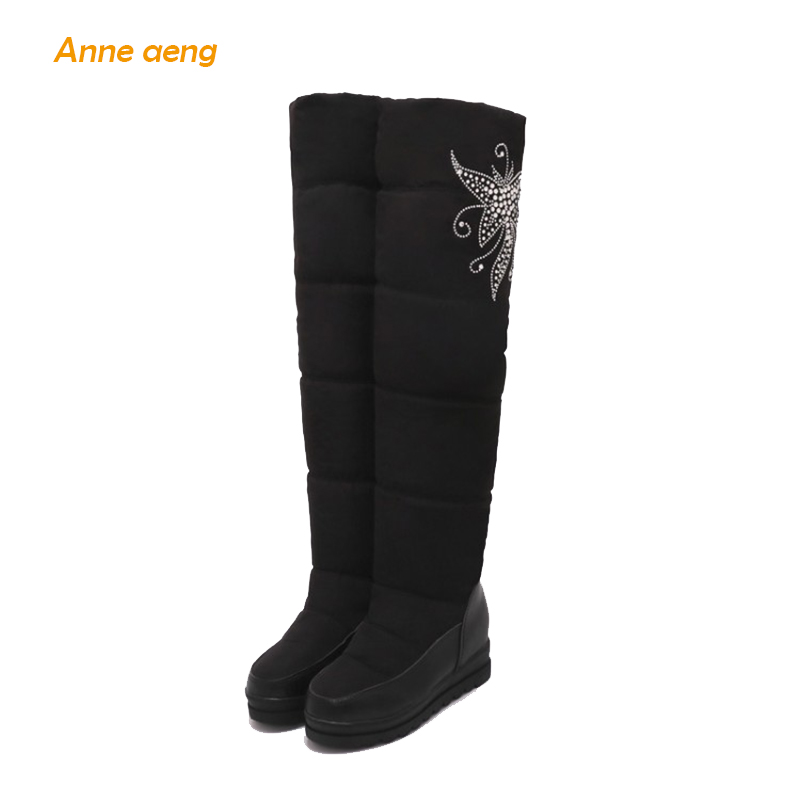Anne Aeng Over-the-Knee Height Increasing Snow Boots Warm Plush Insole Platform Waterproof Casual Style Slip-on Women Shoes thigh high over the knee snow boots womens winter warm fur shoes women solid color casual waterproof non slip plush wedges botas