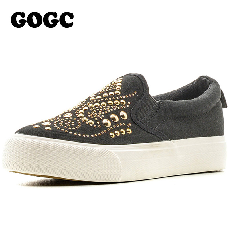 GOGC 2018 Studded Women Shoes Stud Canvas Shoes Women Causal Shoes Comfortable Thick Bottom Slip on Flats Shoes Women Slipony tc c3 1 1 lcd camera timer remote controller for canon eos 1ds mark ii more