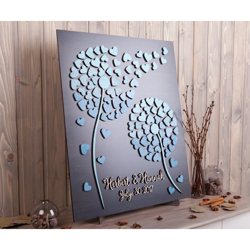 Unique Wedding Guest Books Personalized Name  amp  Date 3D Alternative Guestbooks For Wedding Gift Dandelion Guestbook With Hearts