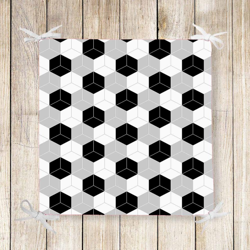 Else Black Gray White Cubes Box Abstract Print Chair Pad Seat Cushion Soft Memory Foam Full Lenght Ties Non Slip Washable Zipper