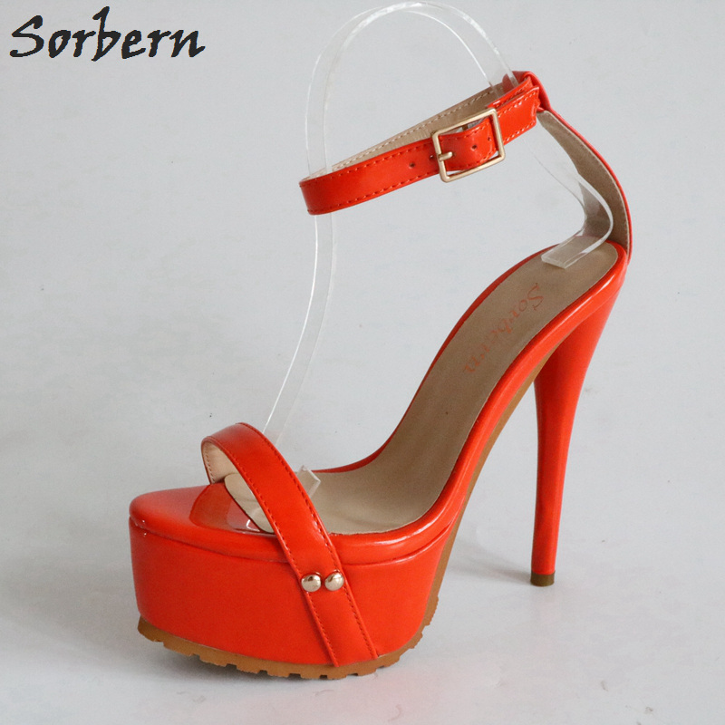 c25f4cf2789e Sorbern Orange Red Sandals High Heels Plus Size Shoes Women Exotic Dancer Extreme  High Heels Size
