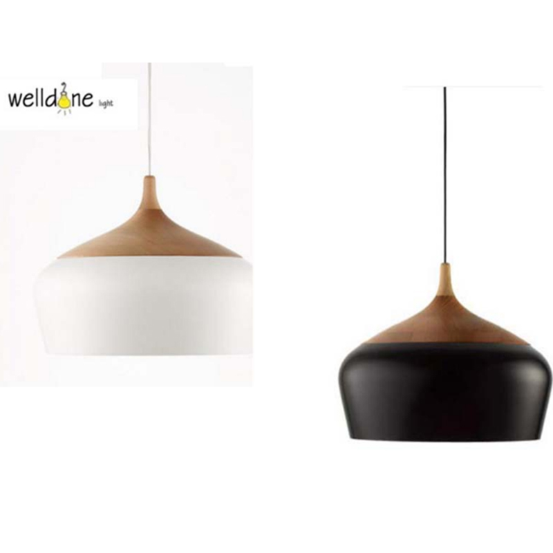 Nordic Simiple Decor Coco Modern Pendent Oak Wood Lamp E27 Socket Wood Hanging Lamp White/black 300/350mm